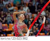 Купить «Художественная гимнастика, выступает Арина Аверина (Россия)», фото № 23023982, снято 20 февраля 2016 г. (c) Alexander Mirt / Фотобанк Лори