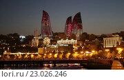 Купить «Ночной вид на башни Flame Towers - Огненные Башни. Баку. Азербайджан», видеоролик № 23026246, снято 22 октября 2018 г. (c) Евгений Ткачёв / Фотобанк Лори