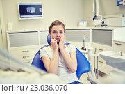 Купить «scared and terrified patient girl at dental clinic», фото № 23036070, снято 23 мая 2015 г. (c) Syda Productions / Фотобанк Лори