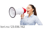 Купить «screaming businesswoman with megaphone», фото № 23036162, снято 8 декабря 2013 г. (c) Syda Productions / Фотобанк Лори