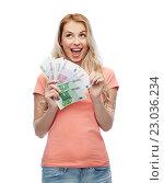 Купить «happy young woman with euro cash money», фото № 23036234, снято 30 апреля 2016 г. (c) Syda Productions / Фотобанк Лори