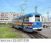 Купить «Трамвай РВЗ-6М2 на конечной остановке у железнодорожного вокзала в Хабаровске», фото № 23037518, снято 31 мая 2014 г. (c) Дмитрий Гаврилюк / Фотобанк Лори