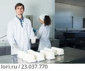 Купить «Two experts checking food in lab», фото № 23037770, снято 26 марта 2019 г. (c) Яков Филимонов / Фотобанк Лори