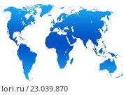 Купить «Dark and light blue gradient world map, isolated», иллюстрация № 23039870 (c) Александр Подшивалов / Фотобанк Лори