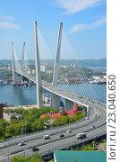 Мост через бухту Золотой Рог во Владивостоке летом. Стоковое фото, фотограф Овчинникова Ирина / Фотобанк Лори