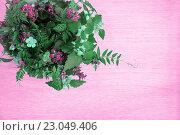 Купить «Ваза с полевыми цветами в углу стола. Тонированное изображение.», фото № 23049406, снято 21 мая 2016 г. (c) Galina Barbieri / Фотобанк Лори