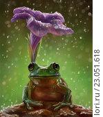 Лягушка и цветок. Стоковая иллюстрация, иллюстратор Елена Саморядова / Фотобанк Лори