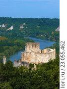 Meander of Seine river, Les Andelys, Seine river, Galliard Castle, Château-Gaillard, Seine valley, Normandy, France. Стоковое фото, фотограф José Antonio Moreno / age Fotostock / Фотобанк Лори