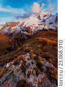 Marmolada from Viel del Pan, Dolomites, Moena, Fassa Valley, Trentino, Italy. Стоковое фото, фотограф Clickalps SRLs / age Fotostock / Фотобанк Лори