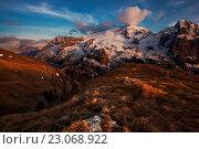 Marmolada from Viel del Pan, Dolomites, Fassa Valley, Moena, Trentino, Italy. Стоковое фото, фотограф Clickalps SRLs / age Fotostock / Фотобанк Лори