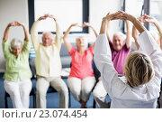 Купить «Seniors doing exercises», фото № 23074454, снято 2 марта 2016 г. (c) Wavebreak Media / Фотобанк Лори