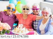 Купить «Seniors wearing funny glasses», фото № 23074586, снято 2 марта 2016 г. (c) Wavebreak Media / Фотобанк Лори