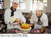 Купить «Portrait of two chefs preparing a cake», фото № 23076442, снято 15 марта 2016 г. (c) Wavebreak Media / Фотобанк Лори