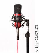 Купить «Профессиональный микрофон на белом фоне», фото № 23077278, снято 24 ноября 2015 г. (c) Стивен Жингель / Фотобанк Лори