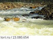 Горная река весной. Стоковое фото, фотограф Игорь Аникин / Фотобанк Лори