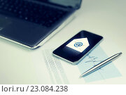 Купить «close up of smartphone with email message icon», фото № 23084238, снято 18 июня 2015 г. (c) Syda Productions / Фотобанк Лори