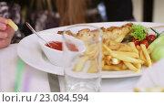 Картофель фри и жареное мясо на блюде. Стоковое видео, видеограф Потийко Сергей / Фотобанк Лори