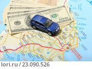 Купить «Деньги и автомобиль на фоне карты», эксклюзивное фото № 23090526, снято 14 июня 2016 г. (c) Яна Королёва / Фотобанк Лори