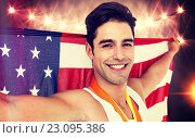Купить «Composite image of athlete posing with american flag after victory», фото № 23095386, снято 23 февраля 2020 г. (c) Wavebreak Media / Фотобанк Лори