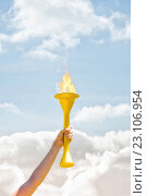 Купить «Composite image of sporty woman posing and smiling with olympic torch», фото № 23106954, снято 7 июня 2020 г. (c) Wavebreak Media / Фотобанк Лори