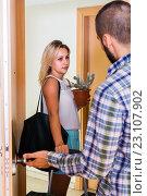 Купить «Young couple separating after quarrel», фото № 23107902, снято 27 марта 2019 г. (c) Яков Филимонов / Фотобанк Лори