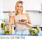 Купить «female eating healthy salad», фото № 23108702, снято 9 декабря 2019 г. (c) Яков Филимонов / Фотобанк Лори