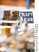 Купить «Close-up of beer bottles in crate», фото № 23114222, снято 6 апреля 2016 г. (c) Wavebreak Media / Фотобанк Лори