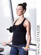 Красивая брюнетка во время тренировки в тренажерном зале. Упражнение со штангой. Стоковое фото, фотограф Nikolay Safronov / Фотобанк Лори