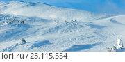 Купить «Winter mountain hill.», фото № 23115554, снято 20 июня 2019 г. (c) Юрий Брыкайло / Фотобанк Лори
