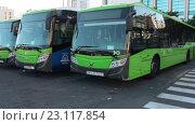 Зеленые автобусы компании Титса на авто вокзале в городе Санта Круз. Тенерифе, Канары, Испания (2016 год). Редакционное видео, видеограф Кекяляйнен Андрей / Фотобанк Лори