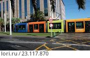 Купить «Современный трамвай с разноцветными вагонами на центральной улице города Санта Круз де Тенерифе. Канарские острова, Испания», видеоролик № 23117870, снято 18 мая 2016 г. (c) Кекяляйнен Андрей / Фотобанк Лори