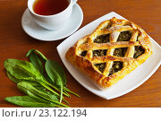 Купить «Домашний открытый пирог с начинкой из листьев щавеля и чашка чая на столе», фото № 23122194, снято 26 мая 2016 г. (c) Виктория Катьянова / Фотобанк Лори