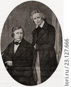 """Grimm Brothers. Jacob Ludwig Karl Grimm, 1785-1863. Wilhelm Karl Grimm, 1786-1859. German brothers dedicated to study of philosophy. From the book """"The... Редакционное фото, фотограф Classic Vision / age Fotostock / Фотобанк Лори"""