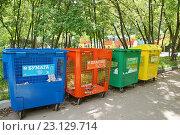 Купить «Контейнеры для раздельного сбора мусора», фото № 23129714, снято 19 июня 2016 г. (c) Павел Москаленко / Фотобанк Лори