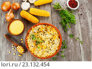 Купить «Запеканка из рыбы, кукурузной крупы и сыра на столе», фото № 23132454, снято 21 июня 2016 г. (c) Надежда Мишкова / Фотобанк Лори