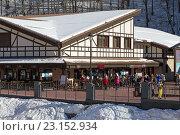 Купить «Ski resort in the Valley Rosa Khutor. Sochi, Russia», фото № 23152934, снято 10 февраля 2016 г. (c) Сергей Лаврентьев / Фотобанк Лори