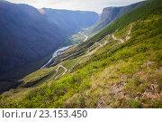 Купить «Вид с перевала Кату-Ярык. Алтай», фото № 23153450, снято 5 июня 2016 г. (c) Алексей Ширманов / Фотобанк Лори