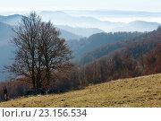 Купить «Autumn misty mountain landscape.», фото № 23156534, снято 4 ноября 2015 г. (c) Юрий Брыкайло / Фотобанк Лори