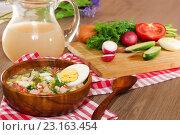 Купить «Окрошка. Холодный летний суп из овощей с домашним квасом», фото № 23163454, снято 27 июня 2016 г. (c) ирина реброва / Фотобанк Лори
