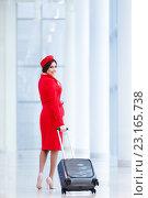 Купить «Stewardess at airport», фото № 23165738, снято 19 февраля 2016 г. (c) Raev Denis / Фотобанк Лори