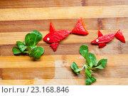 Смешные рыбы с овощами. Стоковое фото, фотограф Дарья Филимонова / Фотобанк Лори