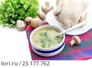Купить «Грибной суп и варенная курица на белом фоне», фото № 23177762, снято 28 июня 2016 г. (c) Татьяна Ляпи / Фотобанк Лори