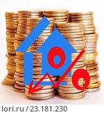 Купить «Красный значок процента на фоне монет», иллюстрация № 23181230 (c) Сергеев Валерий / Фотобанк Лори