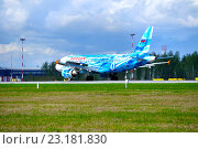 Купить «Самолёт Airbus A319 авиакомпании Россия в аэропорту Пулково, Петербург», фото № 23181830, снято 11 мая 2016 г. (c) Зезелина Марина / Фотобанк Лори