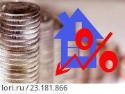 Купить «Красный значок процента на фоне монет», иллюстрация № 23181866 (c) Сергеев Валерий / Фотобанк Лори