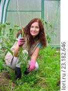 Купить «Девушка - садовод улыбается и держит молодую морковь на грядке в теплице на дачном участке», фото № 23182646, снято 19 июня 2016 г. (c) Максим Мицун / Фотобанк Лори