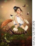 Малышка и бабочки. Стоковая иллюстрация, иллюстратор Маргарита Нижарадзе / Фотобанк Лори