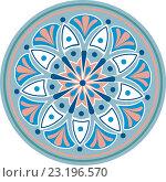 Растительный круговой орнамент - мандала в голубо-розово-белой цветовой схеме на белом фоне. Стоковая иллюстрация, иллюстратор Алина Чебыкина / Фотобанк Лори