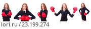 Купить «Collage of woman businesswoman with boxing gloves on white», фото № 23199274, снято 9 ноября 2013 г. (c) Elnur / Фотобанк Лори