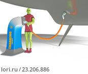 Зеленый гуманоид на точке зарядки. Стоковая иллюстрация, иллюстратор Денис Рубцов / Фотобанк Лори